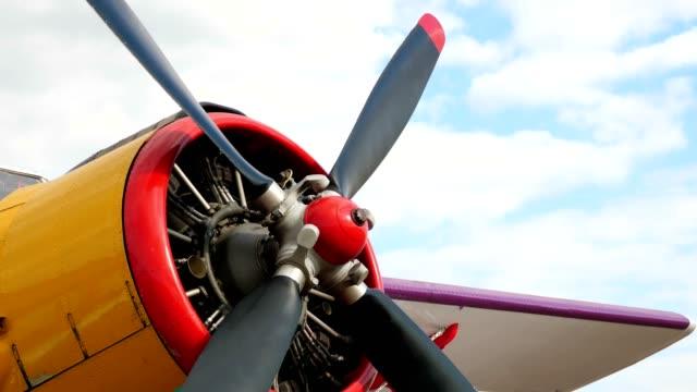 Retro airplane propeller closeup view Retro airplane propeller closeup view. prop stock videos & royalty-free footage