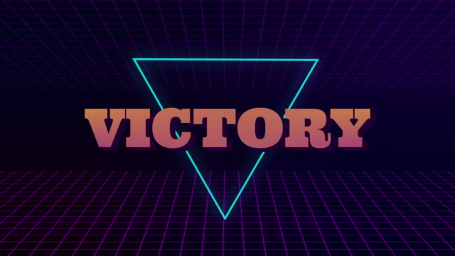 VHS retro animation with the appearing neon triangle and the text victory. The grid moves forward. Retro style. Video games from the 80s. Motion graphics.