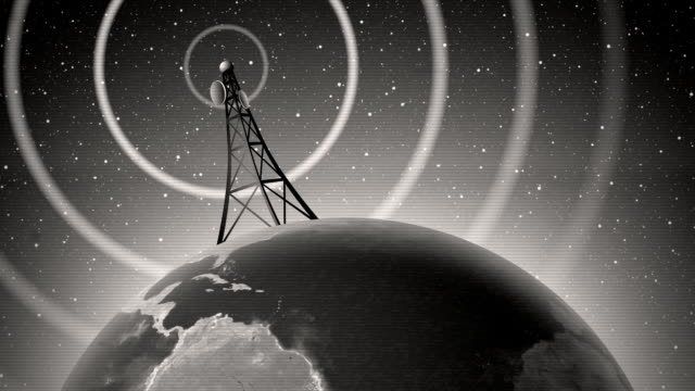 Retro Antenna Broadcasting Signal An old-fashioned graphic of an antenna transmitting a signal around the world, with audio. Contains film dust and scratches, television signal interference/scan lines, and slight picture shake. Modern, color version also available. Easily loopable if you trim off the beginning. Earth map credit: NASA Visible Earth. wave pattern stock videos & royalty-free footage