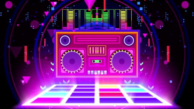 Retro Boombox music party neon