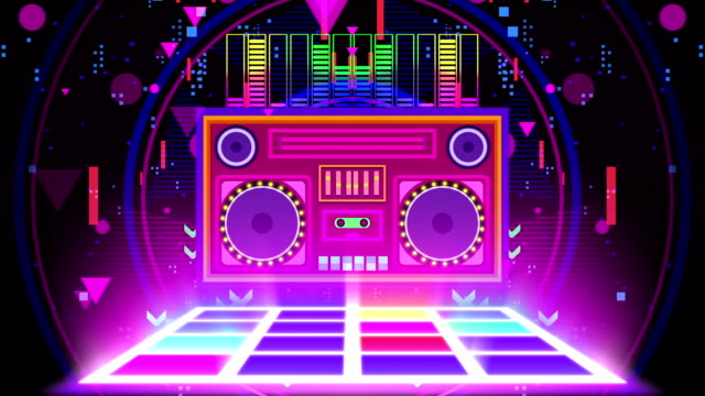 retro boombox music party neon - pop art video stock e b–roll