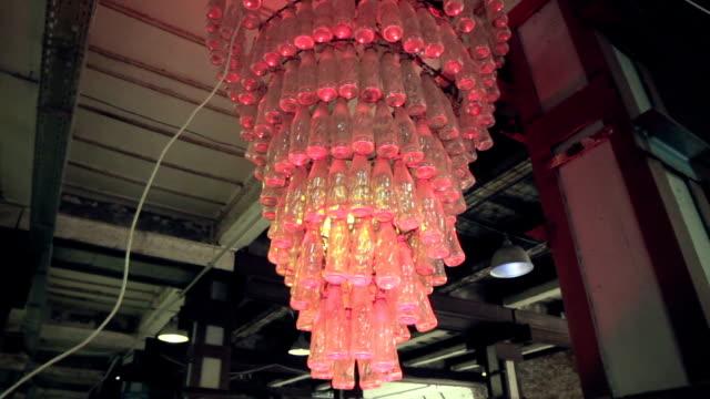 Retro chandelier made of bottles video