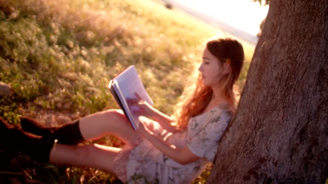 Retro country girl reading a book sitting under a tree video