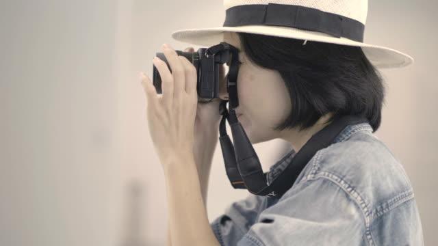 Retro female photographer