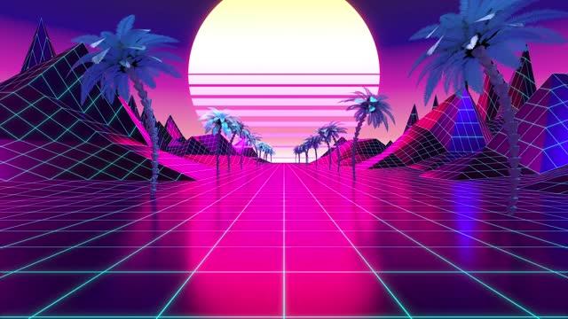 Retro, futuristic 80's design - 3D 4k digital animation