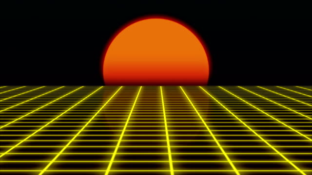 Retro futuristic landscape with sunset 1980s style, digital summer landscape with grid surface, 3D rendering video