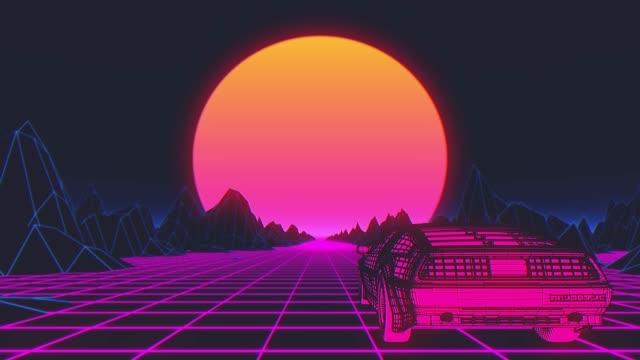 retro futuristic seamless animation of a car with a sun in the background - развлекательные игры стоковые видео и кадры b-roll