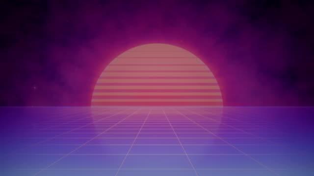 Retro Futuristic Striped Sun and Grid - Animated Background video