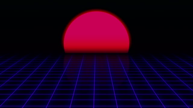 Retro Futuristic.Grid and sunset. 80s Retro Sci-fi background video