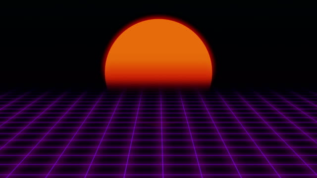 retro futuristic.grid and sunset. 80s retro sci-fi background - vintage fashion stock videos and b-roll footage