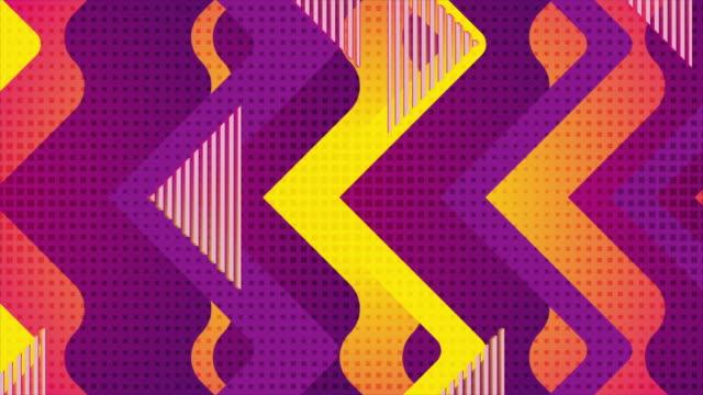 vídeos de stock e filmes b-roll de retro geometric abstract orange violet motion background - padrão repetido