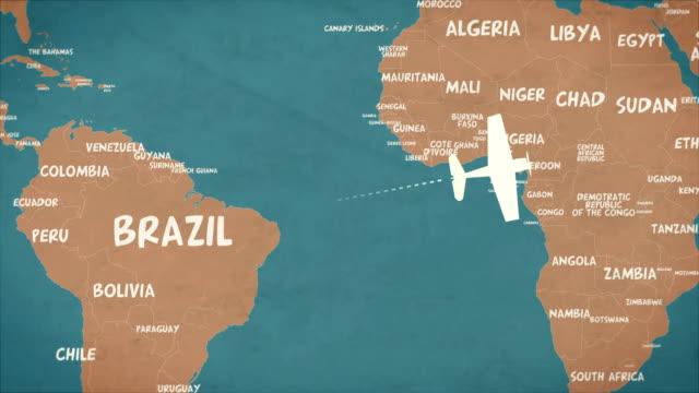 retro global air travel loop background - państwo lokalizacja geograficzna filmów i materiałów b-roll