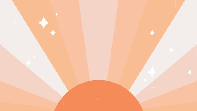 vídeos de stock, filmes e b-roll de fundo hippie retrô com sol, raios e estrelas brilhantes. cenário de forma solar geométrica vintage com paleta de cores terrena. - boho