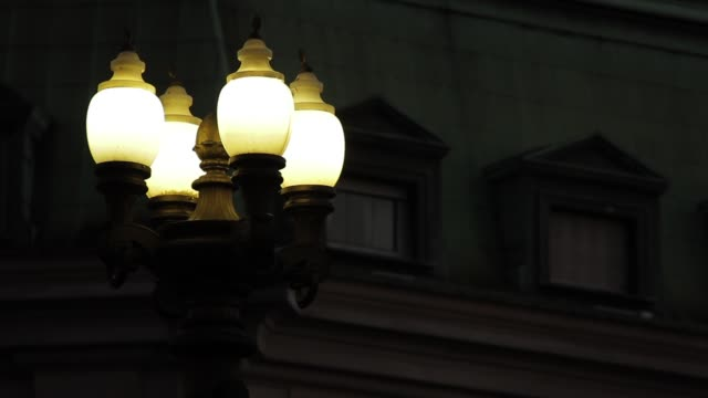 Retro Lamp Post In Plaza De Mayo Square, In Buenos Aires, Argentina.