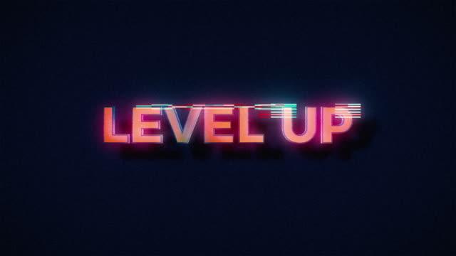 vidéos et rushes de rétro niveau jusqu'à text glitch - horizontal