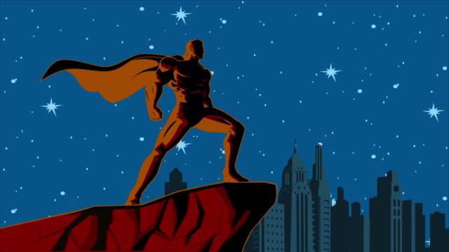 Retro Loopable Blowing Cape Superhero Animation Video