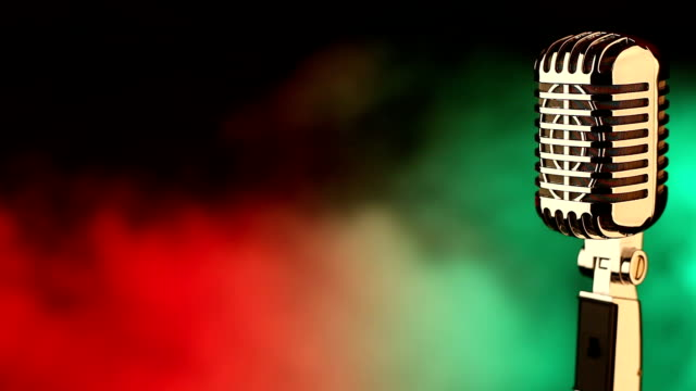 Retro microphone on red and green