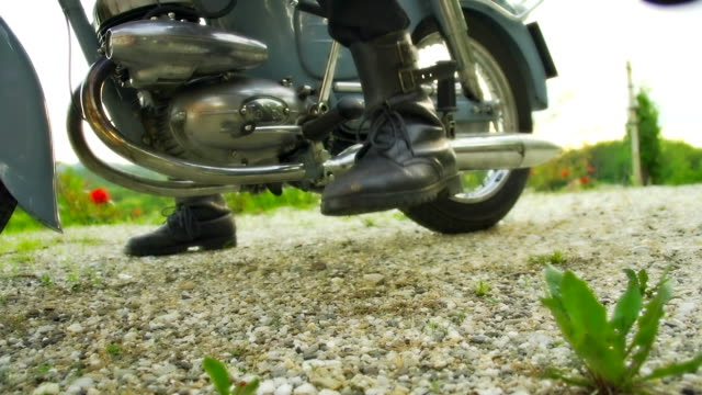 HD SLOW MOTION: Retro Moto Rider's Boots video