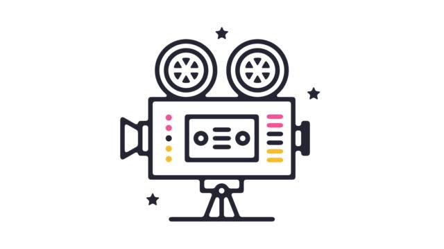 retro-film icon animation - filmkamera stock-videos und b-roll-filmmaterial
