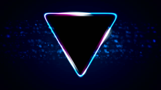 Retro neon 80s shiny triangle motion background video
