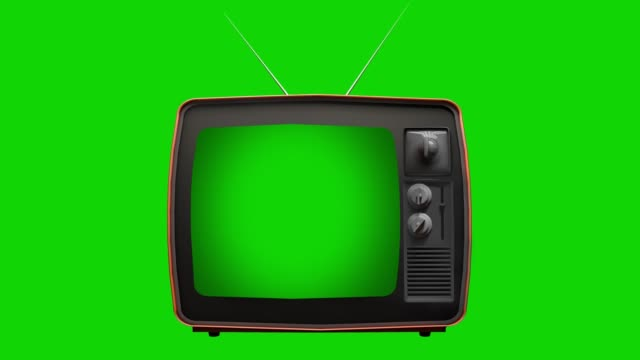retro old tv with green screen. you can replace green screen with the footage or picture you want - television industry stock videos & royalty-free footage