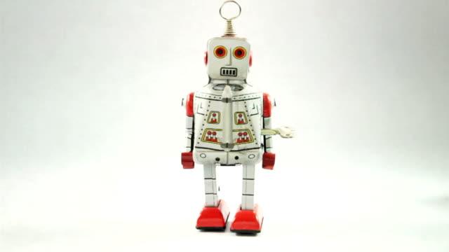 retro robot falling - allerta video stock e b–roll