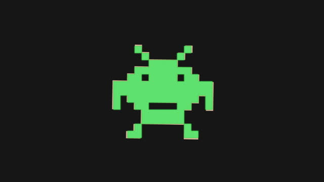 Retro Space Invader Icon with Glitch Effect. 4K video.