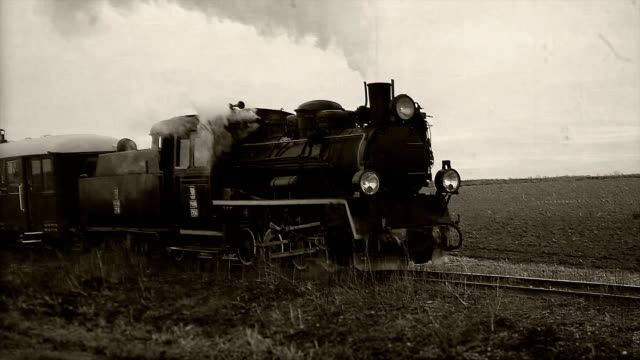 retro steam train loop - cocchio video stock e b–roll