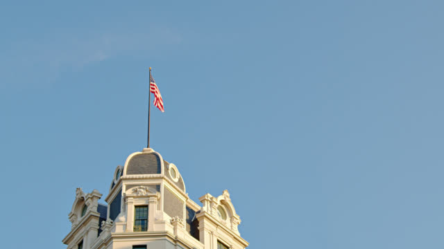 Retro Style Building at Washington DC and American Flag