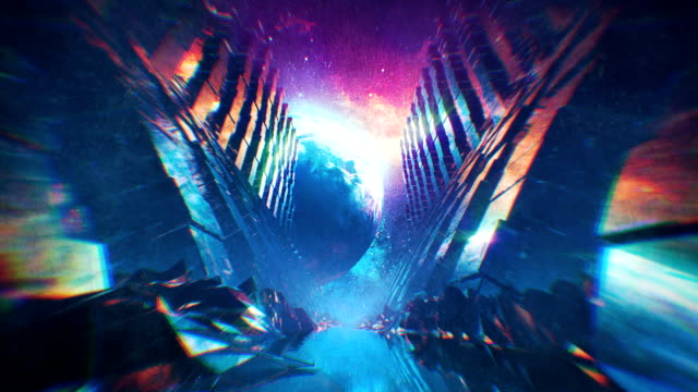 Retro Style Futuristic Tunnel in Outer Space. Seamless Loop Video - video