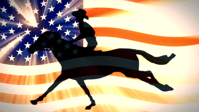 retro style usa flag waving in sunset light with cartoon horseman cowboy upon running horse new quality unique handmade animation dynamic joyful video seamless endless loop footage video