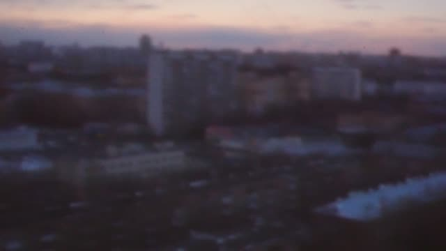 Retro style video of Moscow cityscape in the evening, Russia
