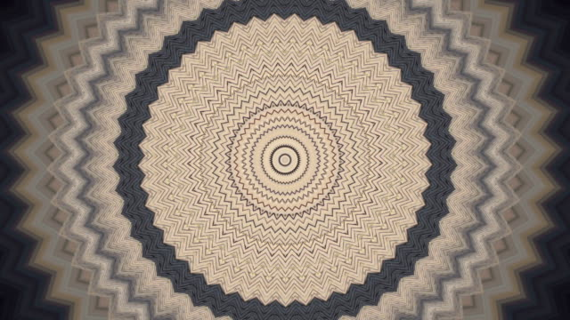 Retro style zigzag circle kaleidoscopic pattern. video