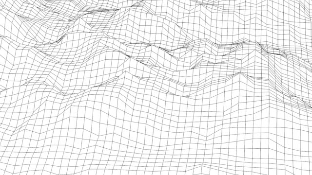 Retro styled futuristic landscape with mountains Retro styled futuristic wireframe landscape with mountains in black and white. synthetic image in motion of low poly terrain wire frame model stock videos & royalty-free footage