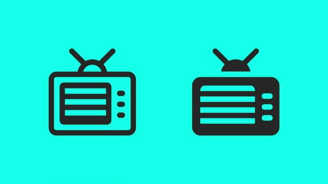 vídeos de stock, filmes e b-roll de ícones de televisão retrô - vector animar - clip art