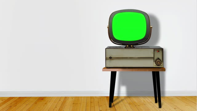 Retro television with chroma key screen in white room with copy space PRE