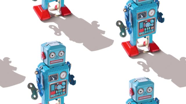 retro tin robot - pop art video stock e b–roll