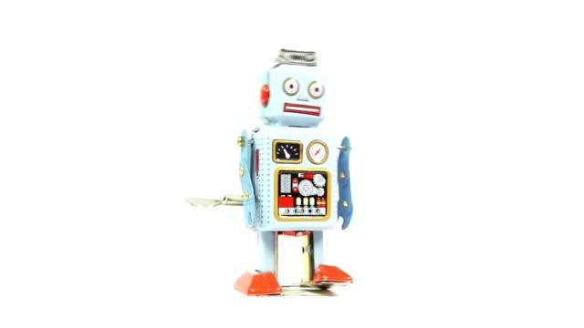 stockvideo's en b-roll-footage met retro tin toy robot - speelgoed