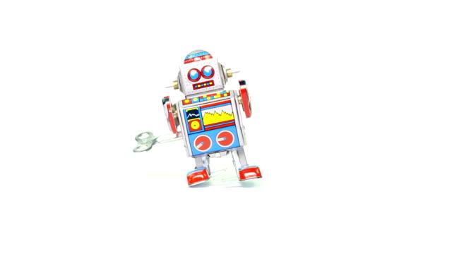 Retro tin toy robot with key video