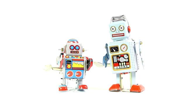 stockvideo's en b-roll-footage met retro tin toy robots - speelgoed
