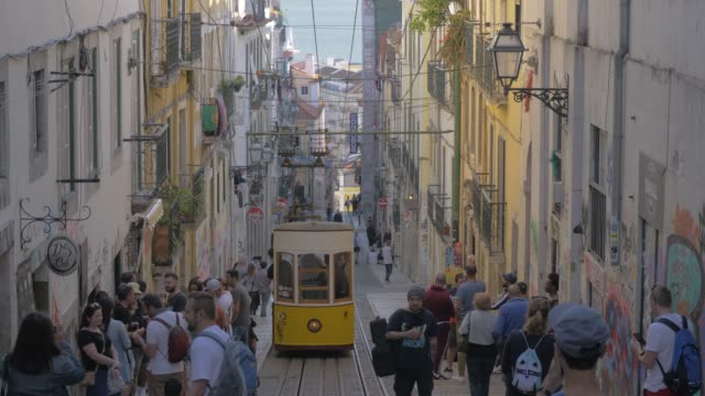 Retro tram in Lisbon street, Portugal