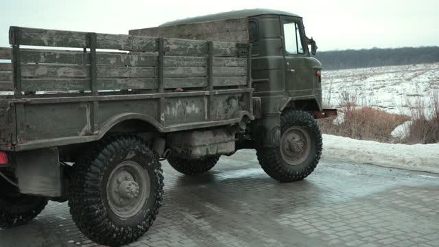 Retro truck, old soviet military truck world war ii transport. military vehicle