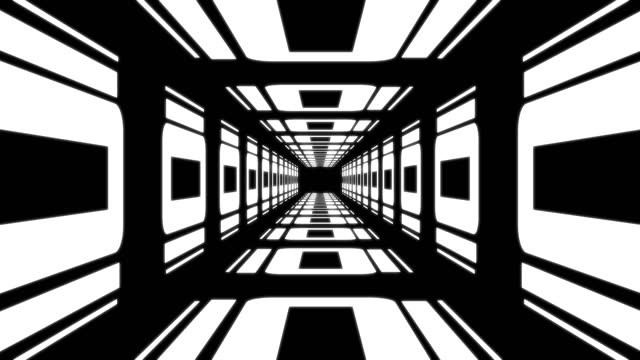 4K Retro Tunnel (Black and White) Animation |Loopable Animation of Tunnel. HD 3840x2160 black and white architecture stock videos & royalty-free footage