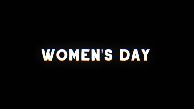 a retro vhs screen featuring women's day text with glitch effect - road signs stock videos and b-roll footage