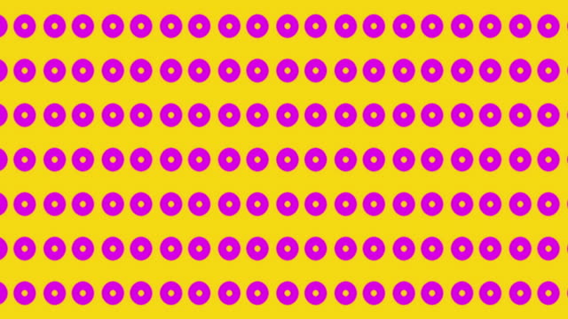 Retro vibe polka dot background with shape transformations. In yellow and hot pink video