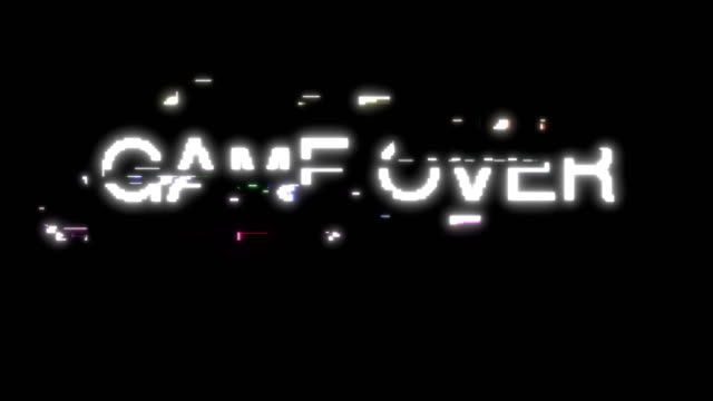 Retro video game over pixel glitch able to loop seamless 4k