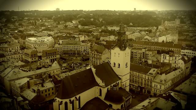 Retro video recording of medieval Roman Catholic cathedral in Lviv, Ukraine video