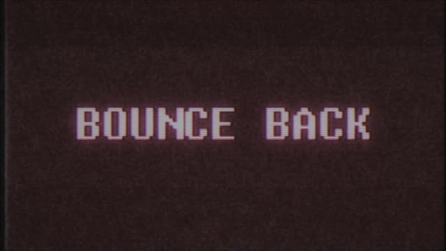 retro videogame BOUNCE BACK word text computer tv glitch interference noise screen animation seamless loop New quality universal vintage motion dynamic animated background colorful joyful video m video