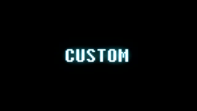 retro videogame CUSTOM word text computer holographic tv glitch interference noise screen animation seamless loop New quality universal vintage motion dynamic animated background colorful joyful video video