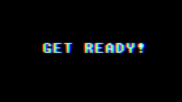 vidéos et rushes de jeux vidéo rétro obtenir prêt texte sur écran du brouillage vieux téléviseur glitch... nouvelle qualité mouvement vintage universel arrière-plan animé dynamique coloré joyeuse cool vidéos - film d'archive